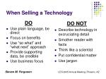 when selling a technology