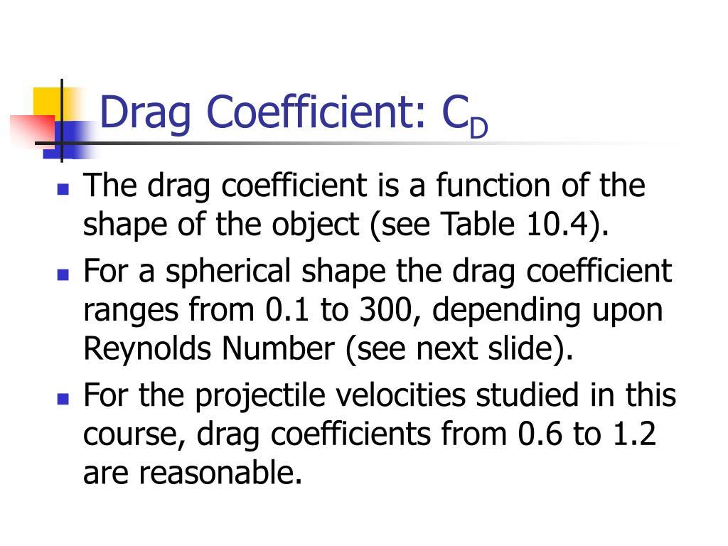 Drag Coefficient: C