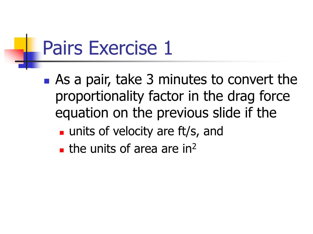 Pairs Exercise 1