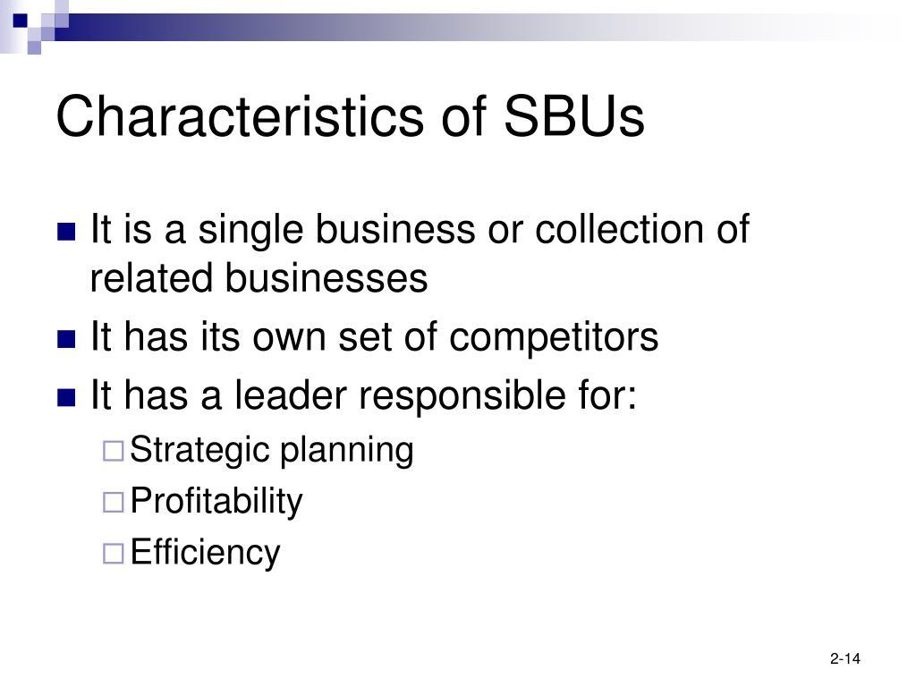 Characteristics of SBUs