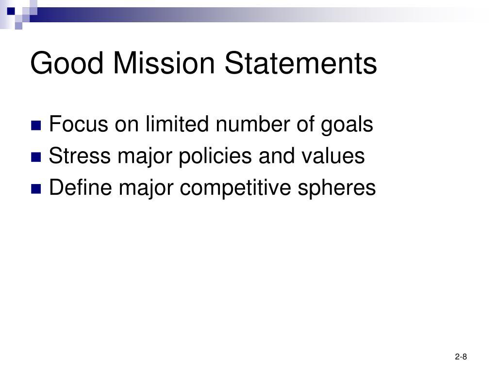 Good Mission Statements