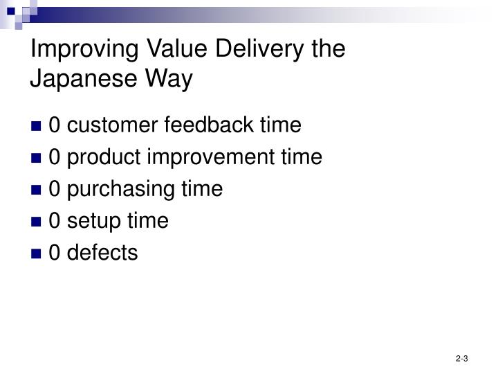 Improving value delivery the japanese way