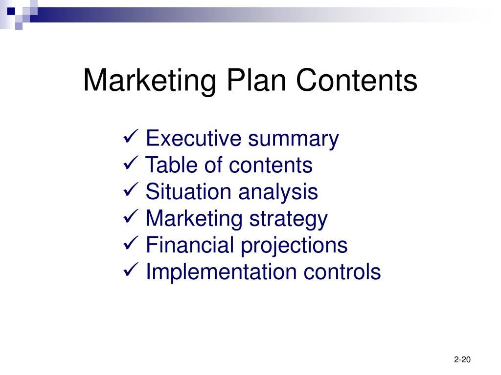 Marketing Plan Contents