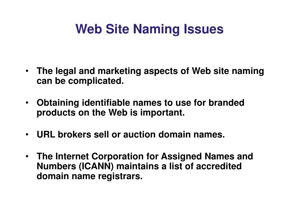 Web Site Naming Issues