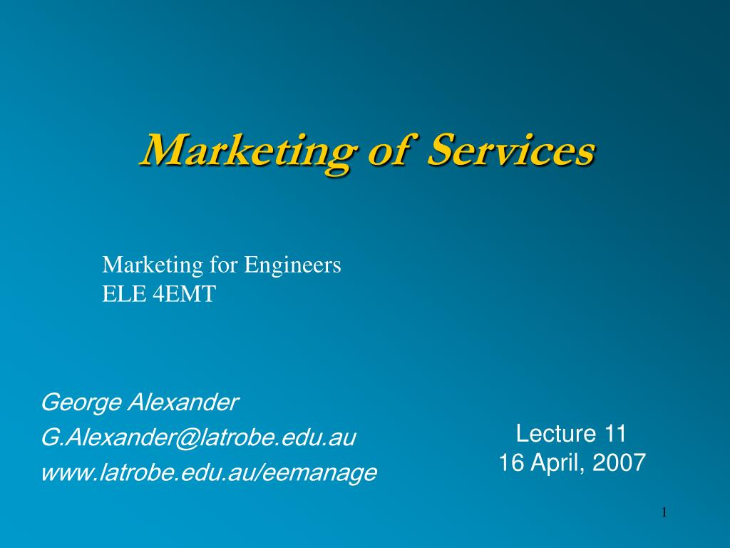 marketing of services l.