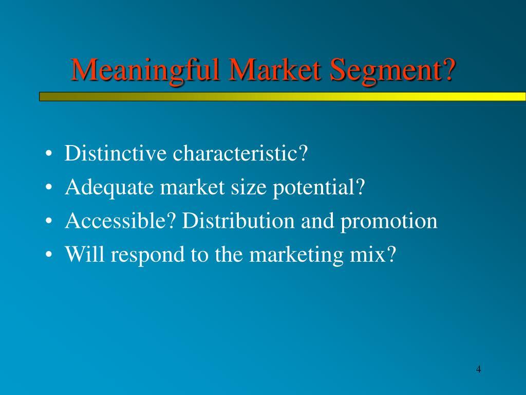 Meaningful Market Segment?