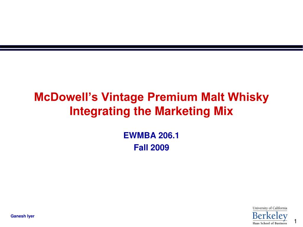 mcdowell s vintage premium malt whisky integrating the marketing mix l.