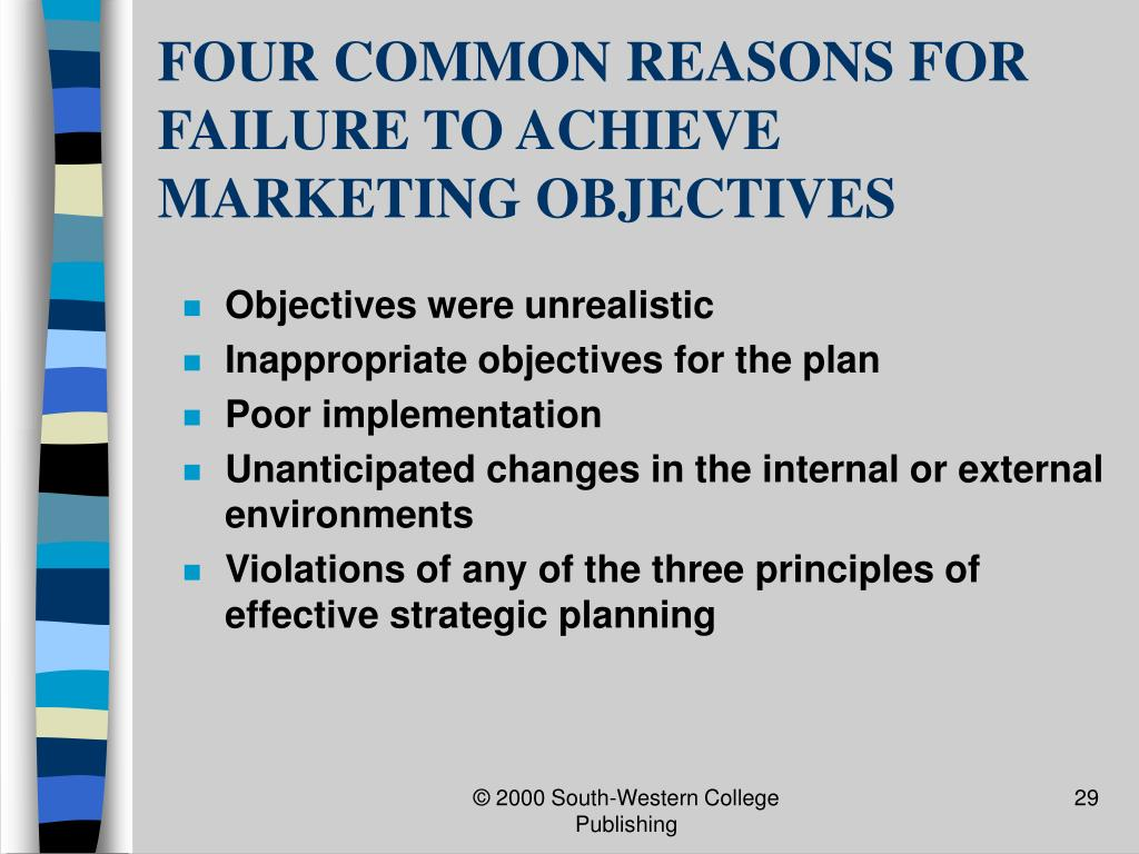 FOUR COMMON REASONS FOR FAILURE TO ACHIEVE MARKETING OBJECTIVES