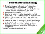 develop a marketing strategy