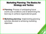 marketing planning the basics for strategy and tactics