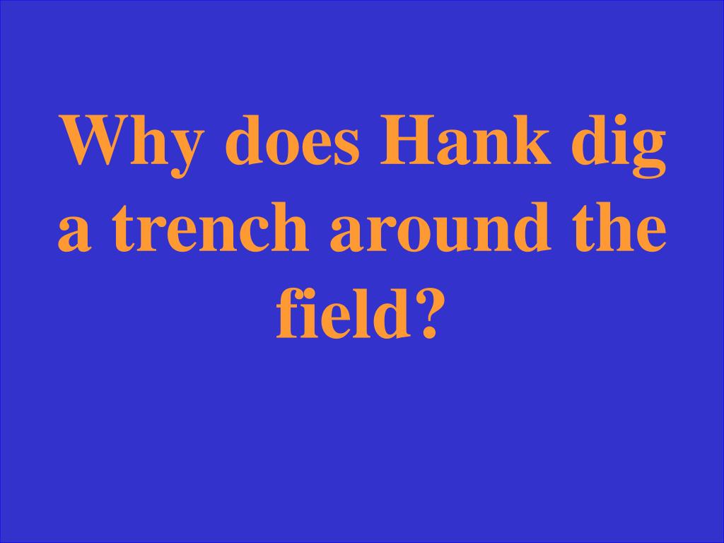 Why does Hank dig a trench around the field?