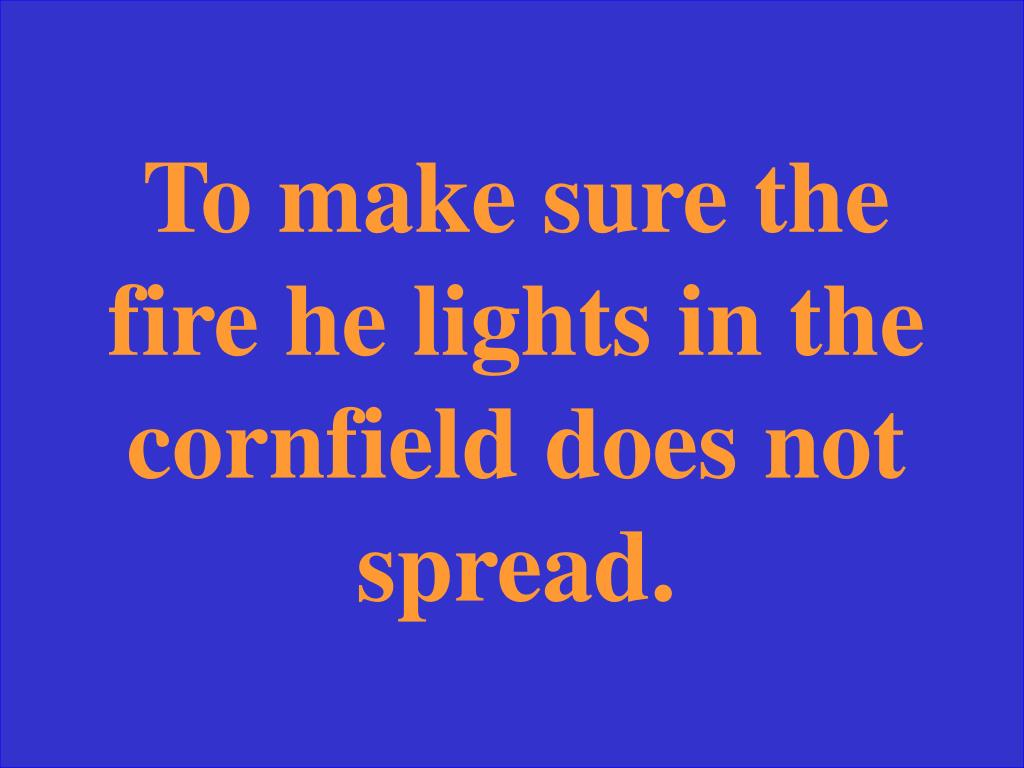 To make sure the fire he lights in the cornfield does not spread.