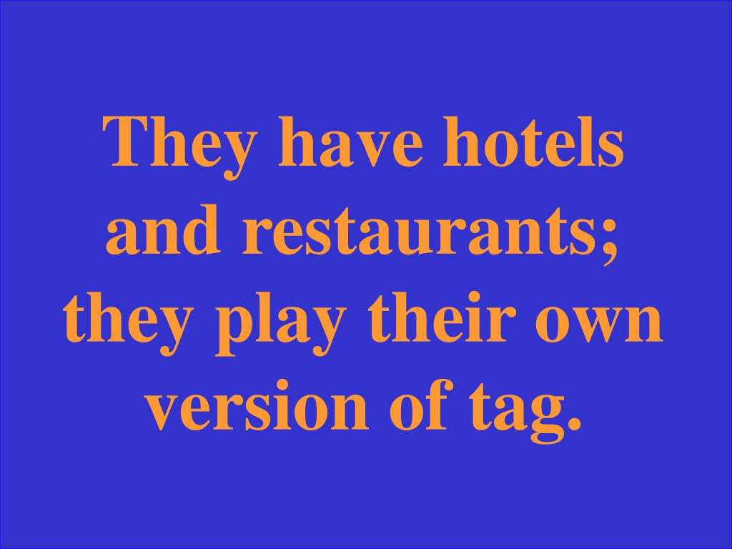 They have hotels and restaurants; they play their own version of tag.