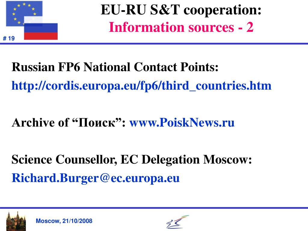 EU-RU S&T cooperation: