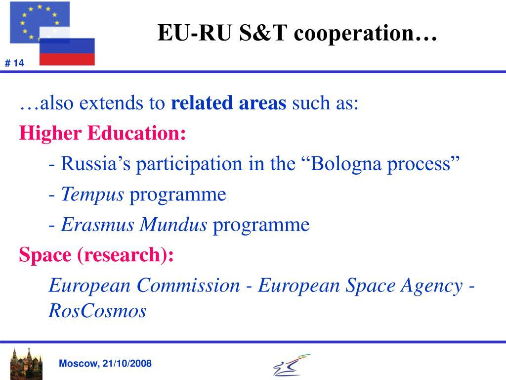 EU-RU S&T cooperation…