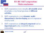 eu ru s t cooperation main conclusions
