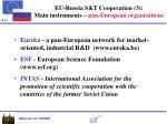 eu russia s t cooperation 3 main instruments pan european organisations