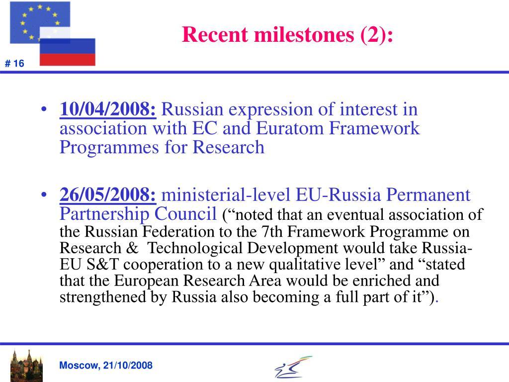 Recent milestones (2):
