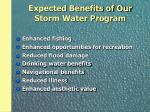 expected benefits of our storm water program