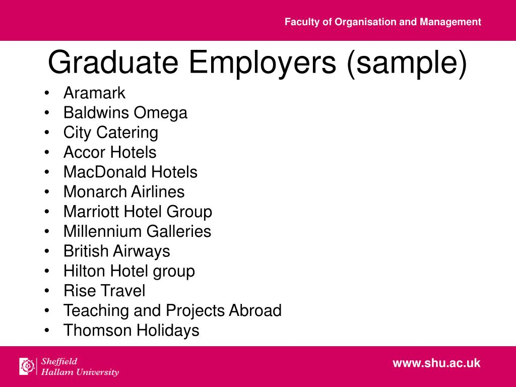 Graduate Employers (sample)