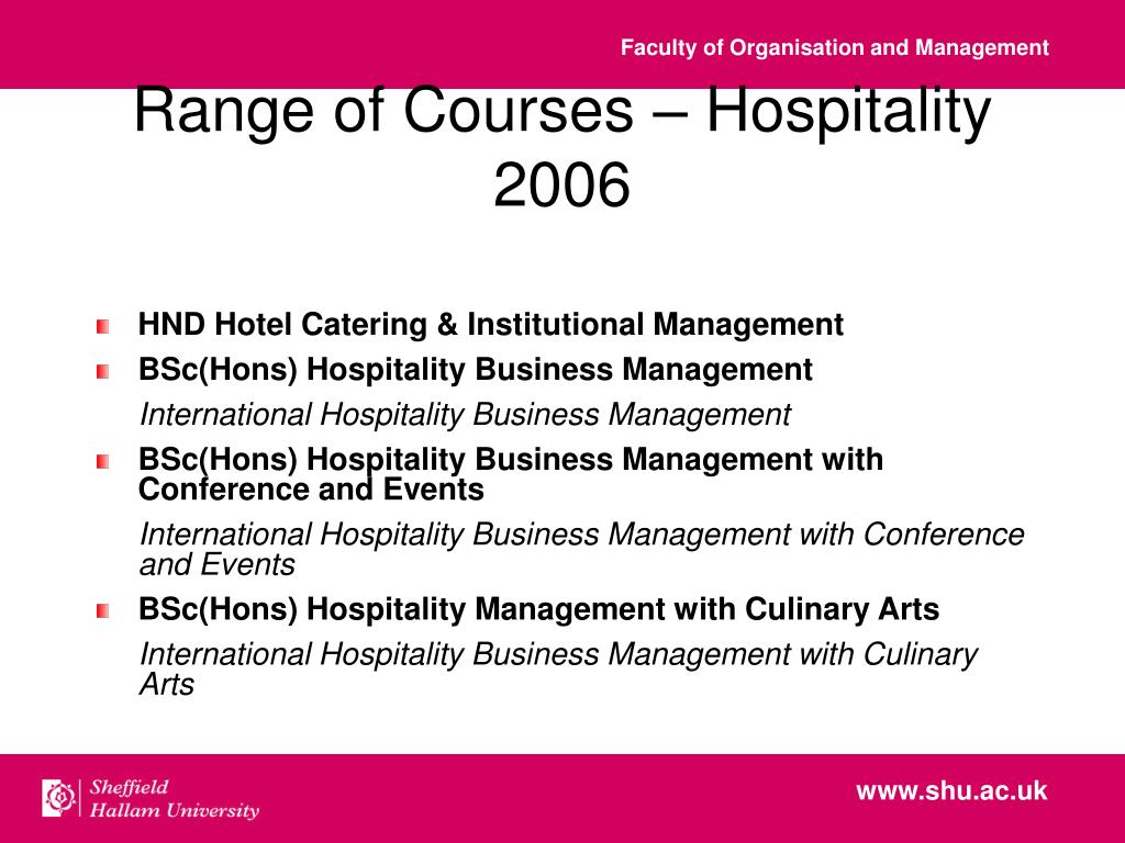 Range of Courses – Hospitality 2006