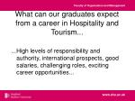what can our graduates expect from a career in hospitality and tourism