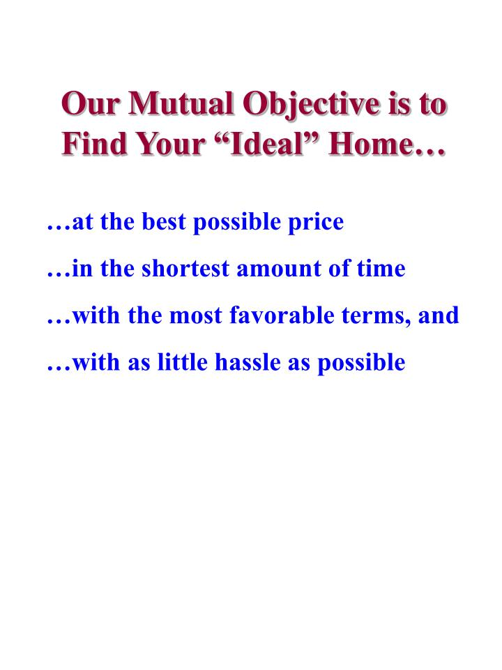"Our Mutual Objective is to Find Your ""Ideal"" Home…"
