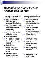 examples of home buying needs and wants