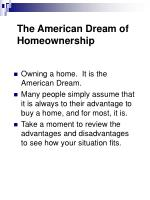the american dream of homeownership