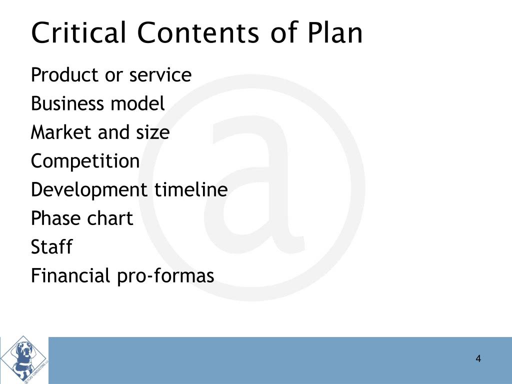 Critical Contents of Plan