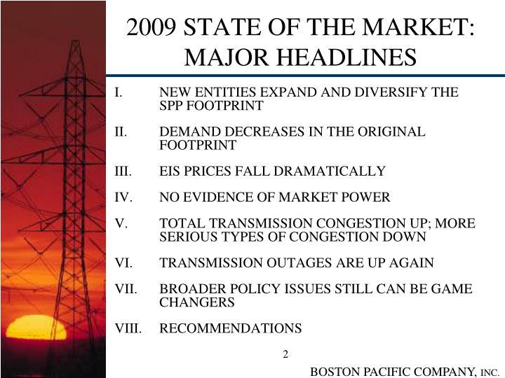 2009 state of the market major headlines