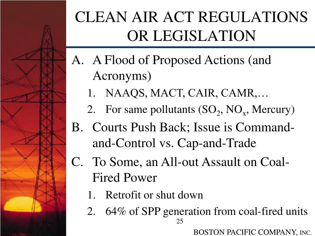 CLEAN AIR ACT REGULATIONS OR LEGISLATION
