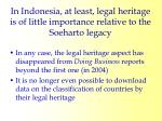 in indonesia at least legal heritage is of little importance relative to the soeharto legacy