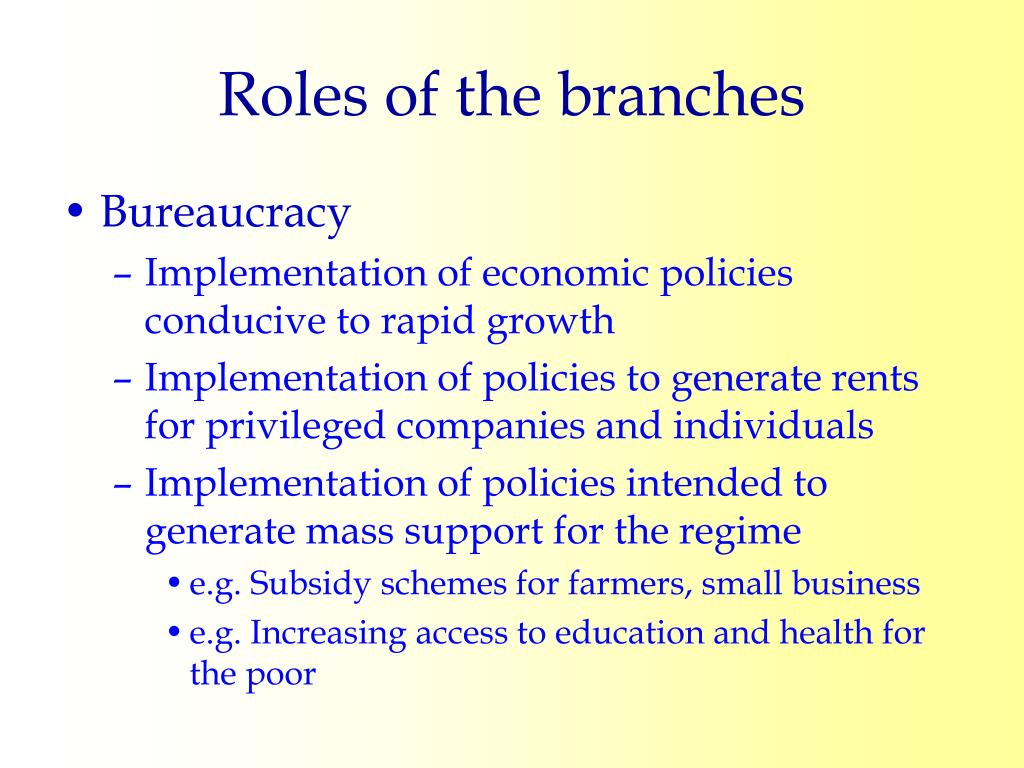 Roles of the branches