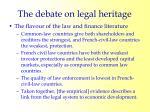 the debate on legal heritage