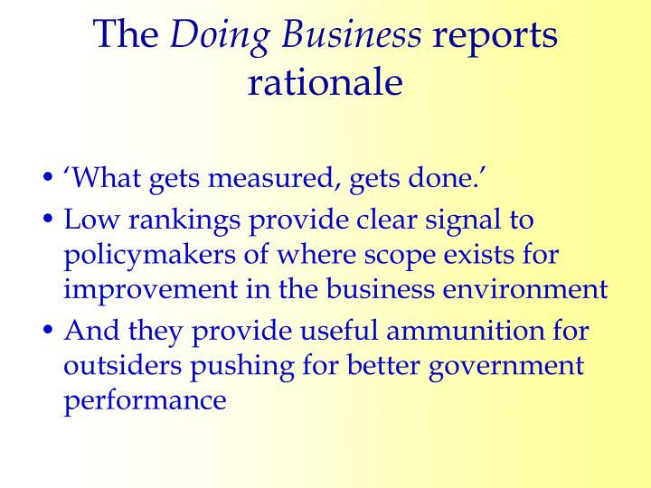 The doing business reports rationale