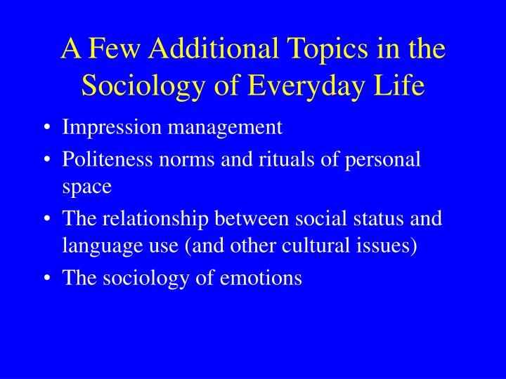 sociology and everyday life