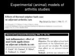 experimental animal models of arthritis studies