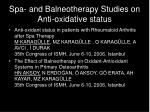 spa and balneotherapy studies on anti oxidative status