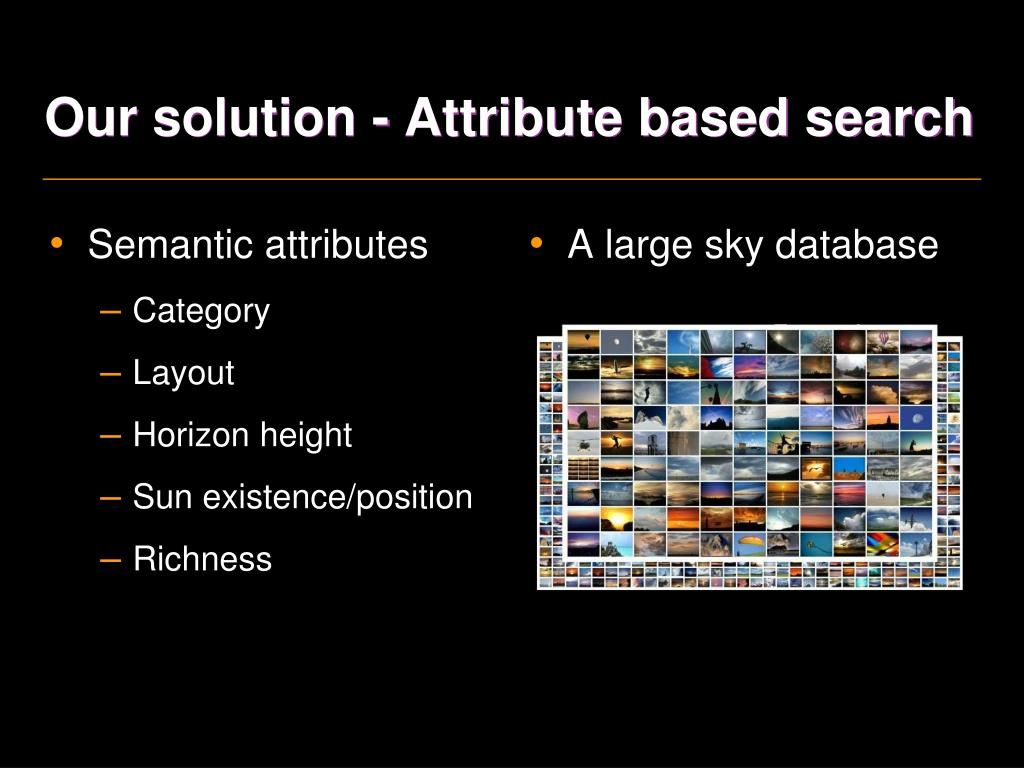 Our solution - Attribute based search