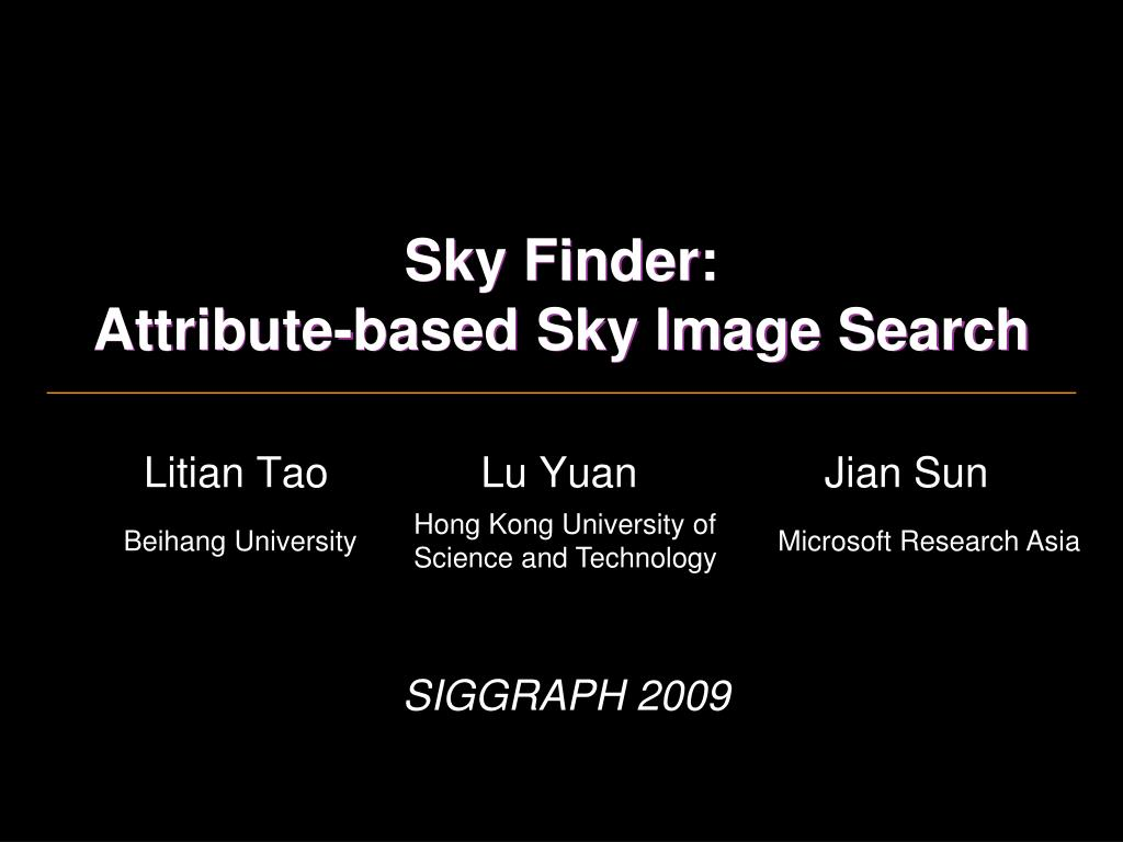 sky finder attribute based sky image search l.