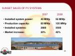 sunset sales of pv systems