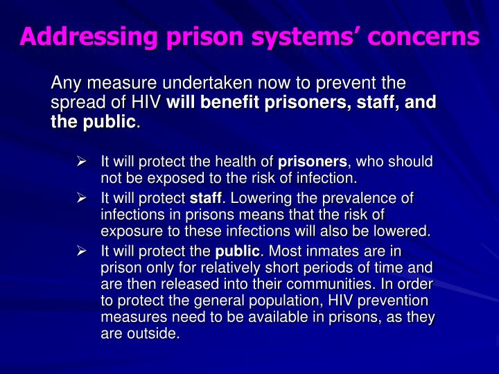 Addressing prison systems' concerns