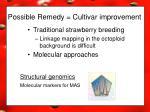 possible remedy cultivar improvement