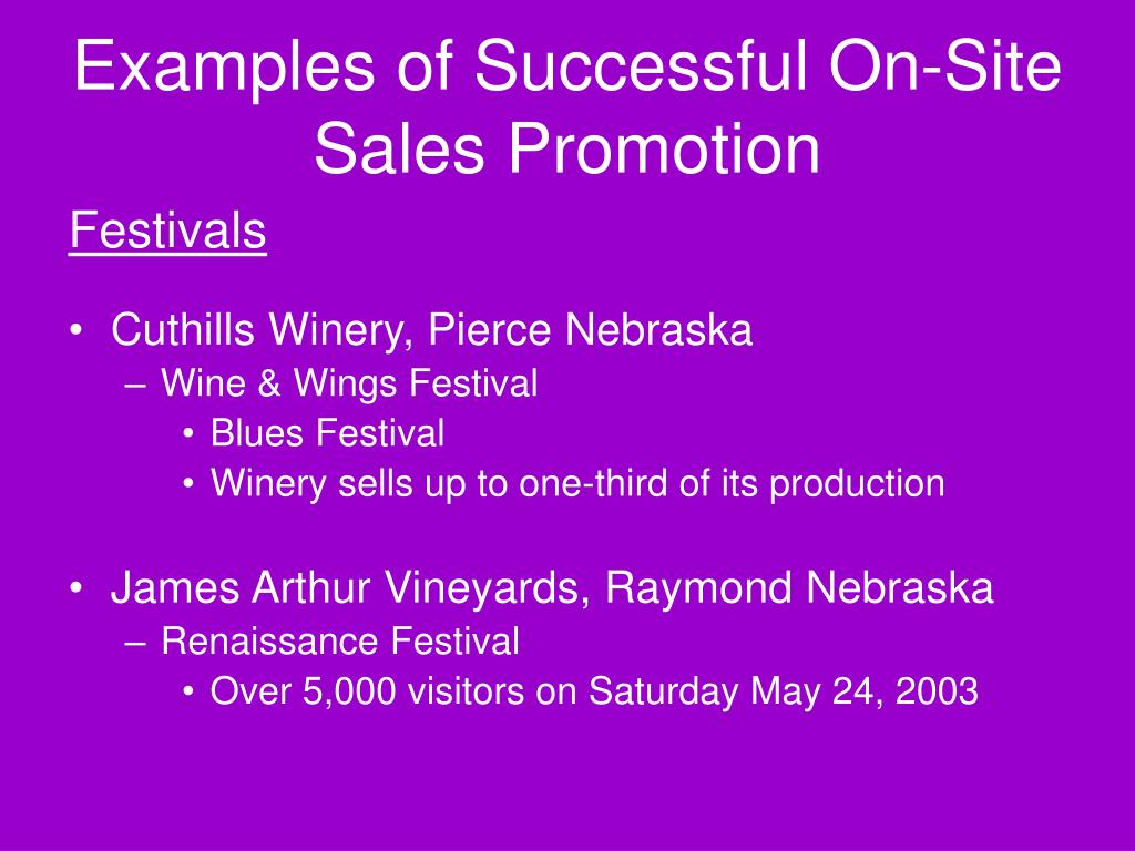 Examples of Successful On-Site Sales Promotion