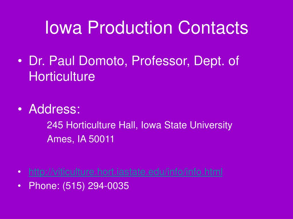 Iowa Production Contacts