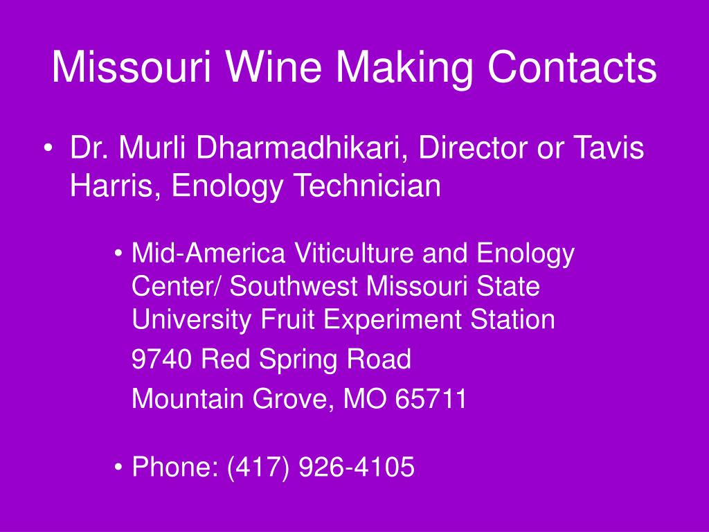 Missouri Wine Making Contacts