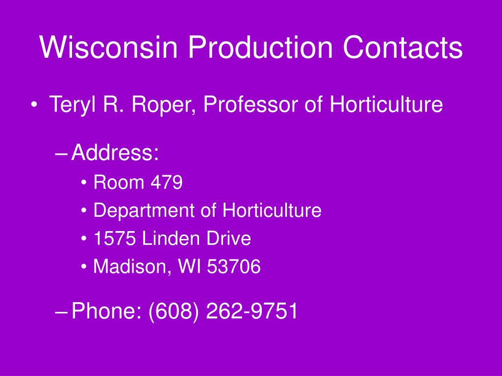 Wisconsin Production Contacts