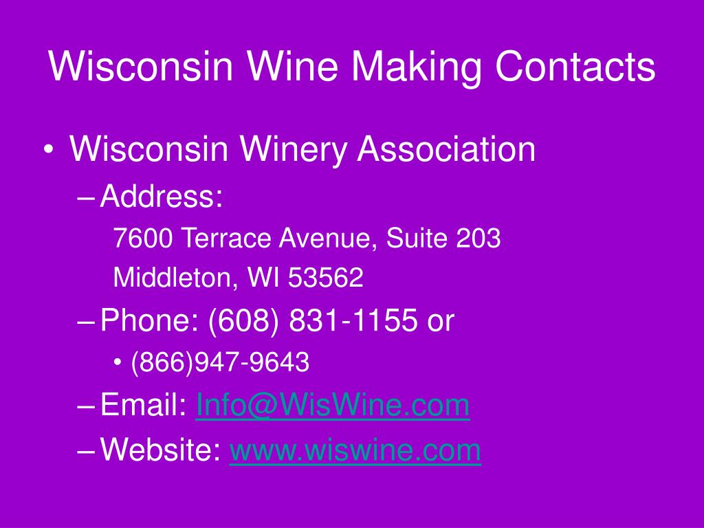 Wisconsin Wine Making Contacts