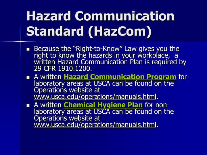 Hazard Communication Standard (HazCom)